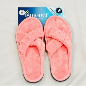 Isotoner Pink Open Toe Slippers 8.5 - 9 large